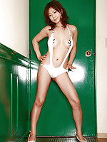 Maki Hoshino Asian with big cans looks so fine in green lingerie